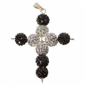 Colgantes, cruces y broches: Cruz con Swarovski blanco y negro de 5x4cm