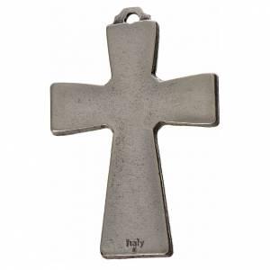 Cruces Colgantes Collares de metal: Cruz Espíritu Santo 5x3.5cm zamak y esmalte blanco