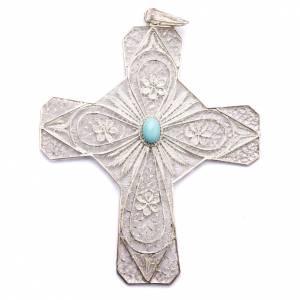 Artículos Obispales: Cruz obispal de plata 800 con piedra turquesa