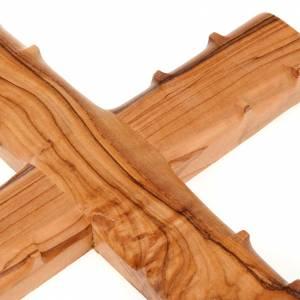 Cruz Tierra Santa madera de olivo natural bordes con espinas s3