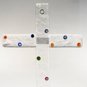 Cruz vidrio de Murano transparente y murrina s2