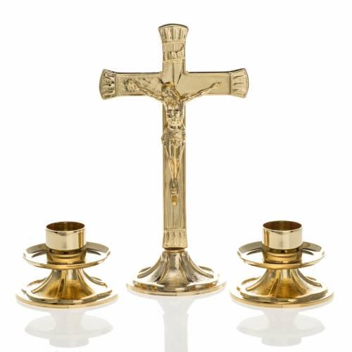 Cruz y candelabros para altar completo de latón dorado s1