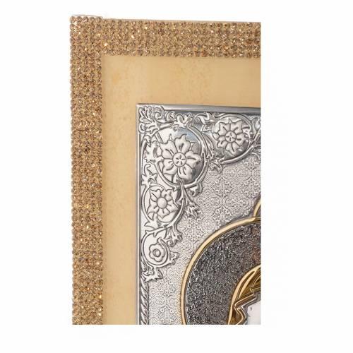 Cuadro Sagrada Familia estilo icono Swarovski oro y plata 25 x 20 cm s3