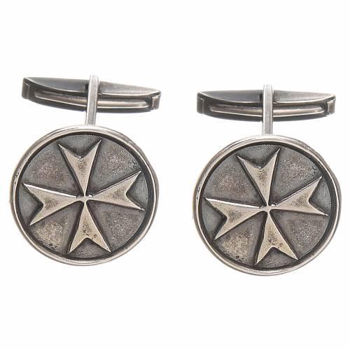 Cufflinks burnished Silver 800, Maltese Cross 1,8cm s1