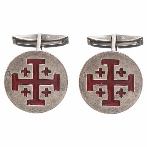 Cufflinks Silver 800, red Jerusalem Cross 1,9cm s1