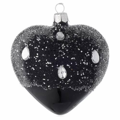 Cuore addobbo in vetro nero e glitter 100mm s2