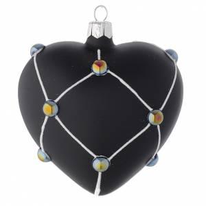 Palline di Natale: Cuore vetro nero satinato e pietre 100 mm