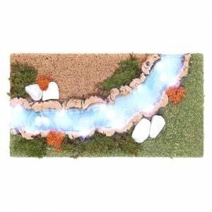 Ponte presepe, ruscelli, staccionate: Curva fiume luminoso 30x20 cm