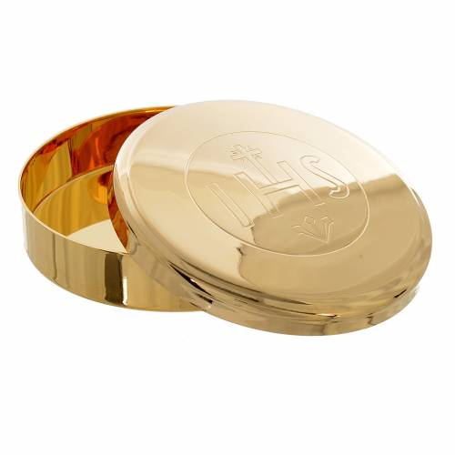 Custode hostie laiton doré IHS diamètre 7 cm s2