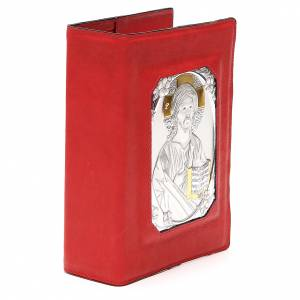 Custodia Bibbia Ger. magnetica Gesù metallo rossa s4