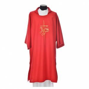 Dalmatik, Rauchmantel und Pluvial: Dalmatik mit Kreuz und IHS Symbol Polyester