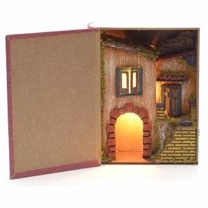 Décor crèche bourg et étable éclairés en livre 19x24x8 s1