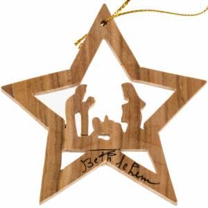Décoration Noel bois d'olivier étoile avec Nativité s1