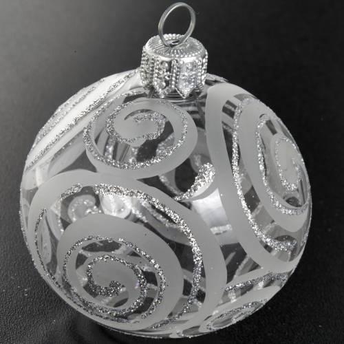 Décoration sapin transparente argent 6 cm s2