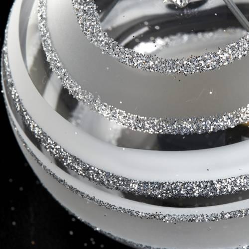 Decoro Albero Natale, palla vetro argento 10 cm s3