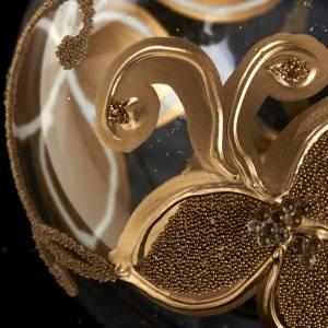 Decoro Albero Natale, palla vetro fiore oro 8 cm s3