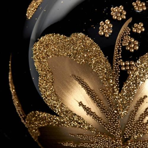 Decoro Albero Natale, palla vetro nero fiore oro 6 cm s3