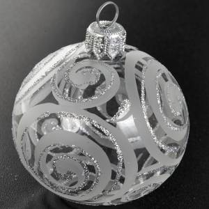 Decoro Albero Natale, palla vetro trasparente argento 6 cm s2