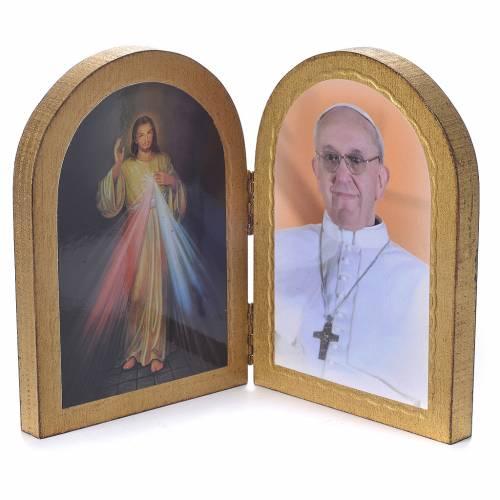 Diptyque ogive Christ Miséricordieux Pape François 17x12 cm s2