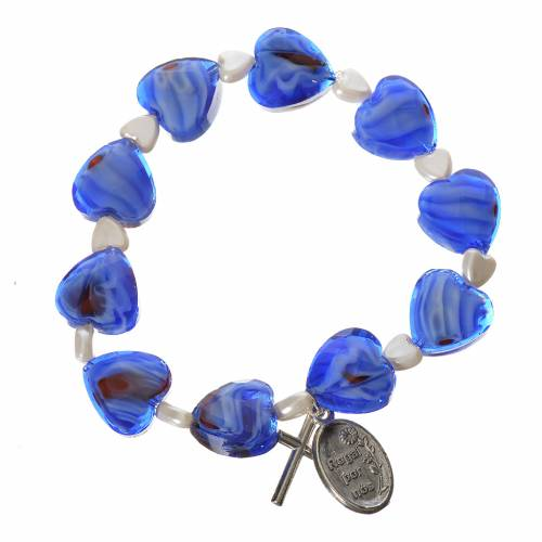 Dizainier élastique semi-cristal coeur 12x12mm bleu s2