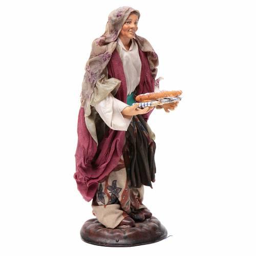 Donna con cesto di pane 18 cm presepe Napoli s3