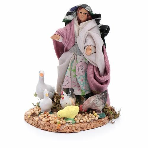 Donna con galline e papere statuina presepe napoletano s2