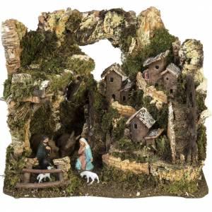 Krippe Hütten und Grotten: Dorf für Krippe mit Grotte 28x38x28 cm