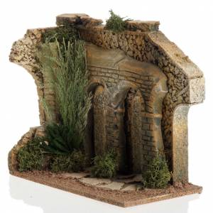 Settings, houses, workshops, wells: Double archway with bricks for nativity scene