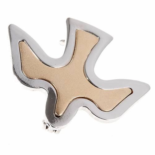 Dove brooch in bicoloured silver s1