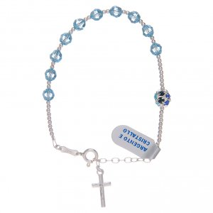 Silver bracelets: Dozen rosary bracelet in 800 sterling silver with sky blue Swarovski