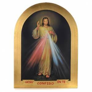 Bilder, Miniaturen, Drucke: Druckbild auf Holz mit Blattgold Göttliche Barmherzigkeit 120x90 cm