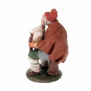 Krippe aus Terrakotta: Dudelsackpfeifer aus handgemalter Terrakotta Krippe 18 cm