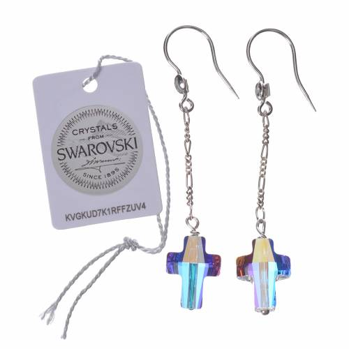 Earrings in 800 silver and white Swarowski, cross s2