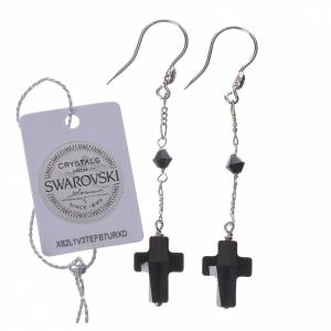 Earrings in 800 silver with cross and bead in black Swarowski s2