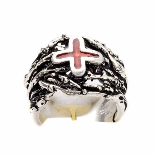 Ecclesiastical Ring made of silver 800 with enamel cross s6