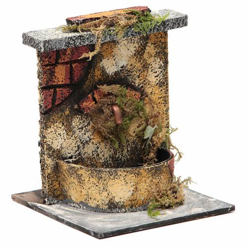 Electric fountain with real wood and cork for Neapolitan Nativity 16x14.5x14cm s3