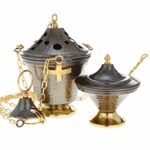 Encensoir et navette en bronze repoussés s4