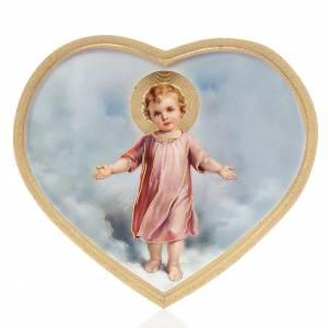 Tableaux, gravures, manuscrit enluminé: Enfant Jésus impression sur bois cadre en coeur