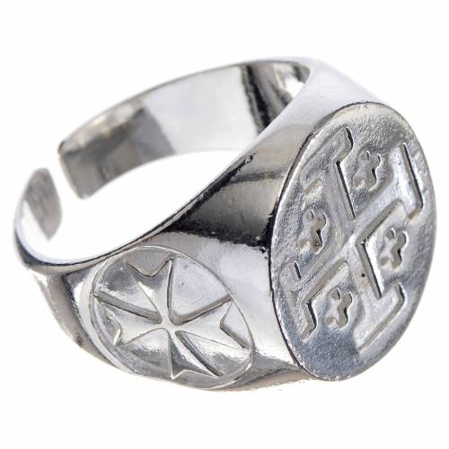Episcopal ring in 800 silver with Jerusalem cross s2