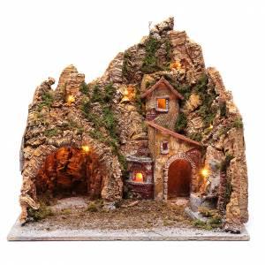 Belén napolitano: Escenografía pesebre de Nápoles casa fuente y horno 45x45x35