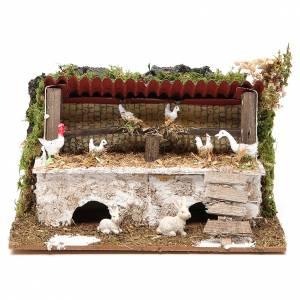 Casas, ambientaciones y tiendas: Establo belén con pollos y conejos 12x20x14 cm