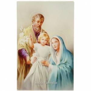 Estampas Religiosas: Estampa en italiano Sagrada Familia con oración