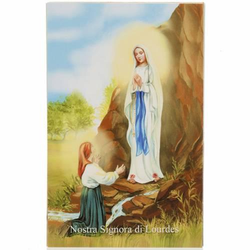 Estampa italiano Lourdes con oración s1