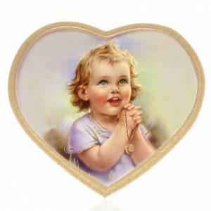 Cuadros, estampas y manuscritos iluminados: Estampa madera corazón niña rezando