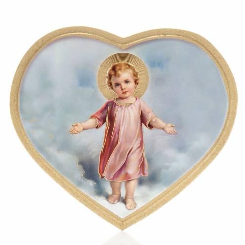 Estampa madera corazón Niño Jesús s1