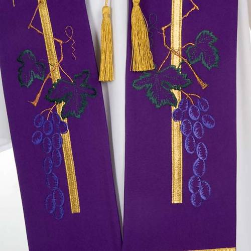 Estola litúrgica dorada espiga uva s3