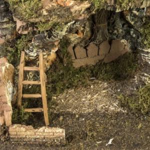Etable crèche Noel fontaine maison échelle40x58x38 s3