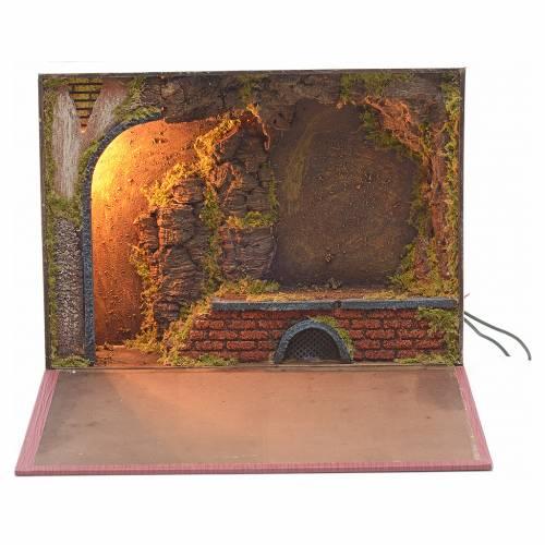 Etable éclairée en livre pour crèche 24x30x8 s1