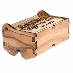Étuis à chapelets: Etui chapelet bois d'olivier Jérusalem dernière cene