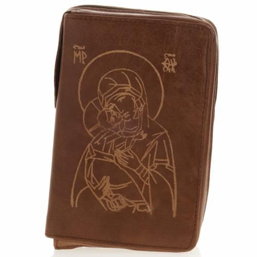 Etui pour liturgie 4 volumes, Jésus et Marie, marron s1